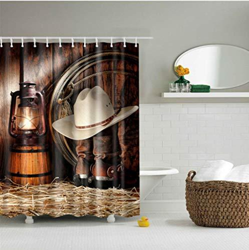 aizaixinli Denim Duschvorhang Polyester Stoffvorhang Gedruckt Wasserdicht Bildschirm Badezimmer Dekorationen Waschbar Set -