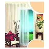 KOU-DECO Transparente Kräuselband Vorhang Weiße Lichtdurchlässige Voile Schal Uni Gardine 1 Stück (300x245cm)