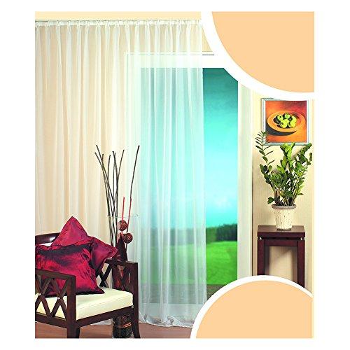 KOU-DECO Rideau Voilage de Fenêtre Voilage avec Galon Fronceur Uni Blanc Semi-Transparent 1Pc/Paquet Décoration de la Chambre/Salon/Balcon (140x245cm)