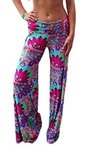 Toyobuy Pantalon Fluide Femme Eté Large Jambe Bas Bouffant Yoga Plage Jogging Fleurs Multicolore
