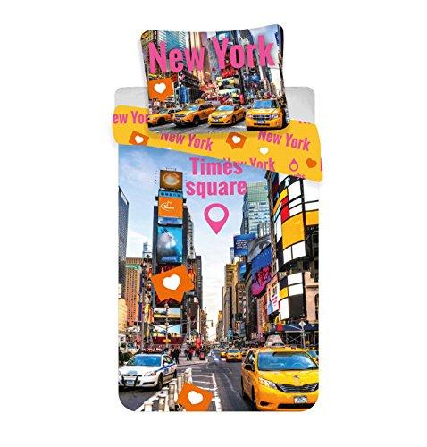 Jerry Fabrics Times Square Kinderbettwäschemit Reißverschluss;Bettbezug 140 x 200 cm und Kissenbezug 70 x 90 cm, Baumwolle, Mehrfarbig, 200 x 140 x 0.5 cm