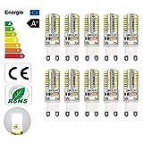 10 bombillas LED G9 de 3.5W, bombilla LED sin parpadeo, 300LM, 220-240V, blanco estroboscópico (blanco) [Clase de energía A +]