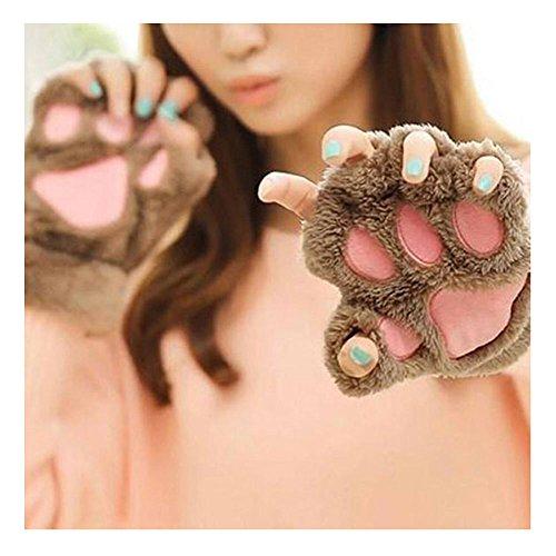 1 Paar Nette Fingerlose Pfote Plüsch Handschuhe von MAXGOODS, Katze Bär Paw, aus Künstlich Faux Pelz für Frauen Damen - Hellbraun