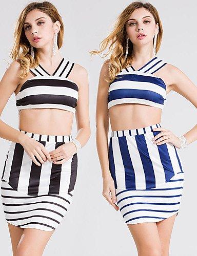 PU&PU Robes Légères Aux femmes Couleur Pleine Sans Armature A Bretelles Mélanges de Coton / Polyester blue-s