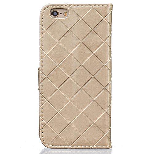 """Rabat Style iPhone 6S Coque Cuir Portefeuille, Grille Apparence Mode Housse de Protection Apple iPhone 6 / iPhone 6S 4.7"""", Métal Magnétique Fermeture Carte Titulaire Flexible Slap-up Case - Noir Or"""