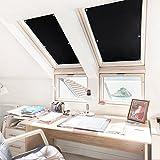 KINLO® Dachfensterrollo Schwarz 96x100cm(BxL) TOP Qualität Verdunkelungsrollo Dachfenster Hitzeschutz Dachfensterplissee ohne Bohren aus 100% Polyesterfasern Thermorollo für Verlux mit Krafthaftsaugern