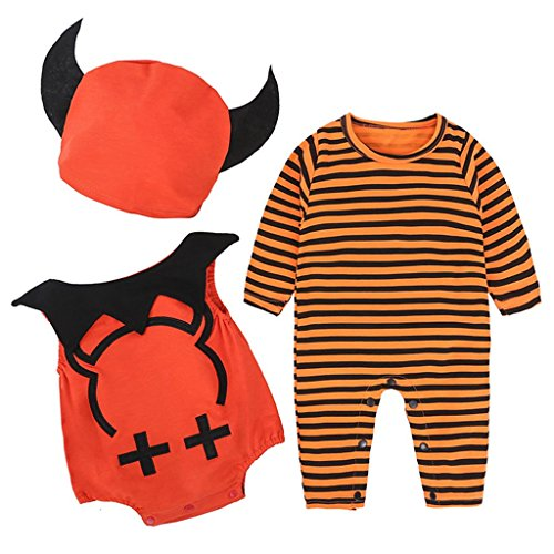 Baby 3pcs Halloween Costume, Skull Romper + Bodysuit + Hat Jumpsuit Clothing Set Outifts 3-24 Months