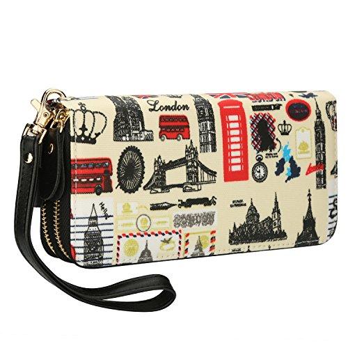 Damen Geldbörse Eule Brieftasche Lang Reißverschluss Portemonnaie Groß Vintage mit Abnehmbare Handschlaufe und Münzfach Geldtasche (07)