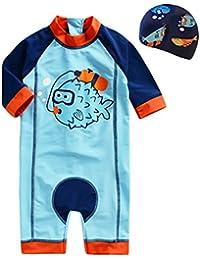 Bebé Trajes de baño 3 piezas Beachwear Camisetas Bañadores con tapa bañador Vine (Altura 80 - 130 CM)
