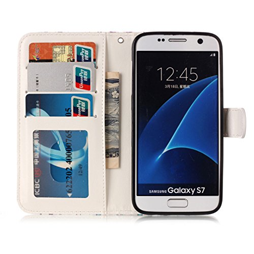 Coque Etui pour Galaxy S7 Edge,Galaxy S7 Edge Coque Portefeuille PU Cuir Etui,Galaxy S7 Edge Coque de Protection en Cuir Folio Housse, iPhone 7 Leather Case Wallet Flip Protective Cover Protector, Uka Panda