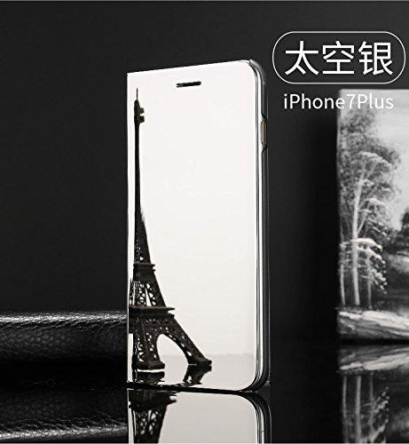 Meimeiwu Clear View Flip Custodia Cover con Funzione Kickstand [Sleep/Wake Funzione] Ultra-Sottile Specchio Traslucido Smart Cover per iPhone 6 6S Plus - Oro Argento