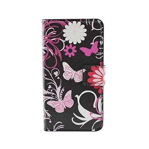 Qiaogle telefono case - custodia in pelle pu basamento custodia protettiva cover per lg g2 (5.2 pollici) - hy09 / pink butterfly (black)