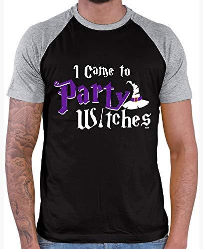 HARIZ  Herren Baseball Shirt I Came to Party Witches Halloween Kostüm Horror Umhang Plus Geschenkkarten Black/Grey Melange L