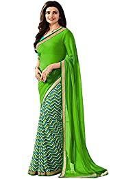 Women's Clothing Designer Latest Green Georgette Saree With Blouse Piece (Georgette,Green, Free Size)