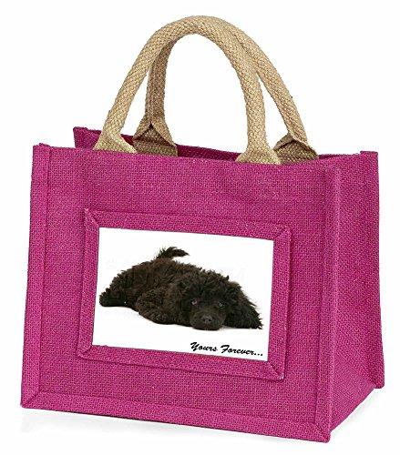 Miniature Schwarzer Pudel ' Yours Forever' Kleine Mädchen rosa Einkaufstasche (Mini Pudel Schwarz)