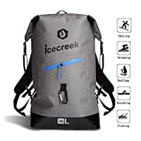Waterproof TPU Backpack Dry Bag- Roll-Top Closure and Cushioned Padded Back Panel, with Easy Access Front Splash-Proof Zippered Pocket and Reflective Printing, Stylish Design for Outdoor Research