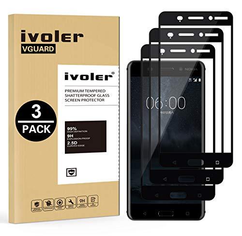 iVoler [3 Stücke] Panzerglas Schutzfolie für Nokia 6 2017, [Volle Bedeckung] Panzerglasfolie foliefolie Hartglas Gehärtetem Glas BildschirmPanzerglas