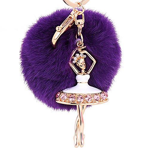 Gosear Flauschige Pelz Ball Hängende Anhänger Schlüsselanhänger Kette mit Strass Ballerina Ornament für Tasche Handtasche Brieftasche Dekoration Lila