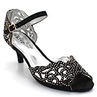 AARZ LONDON Women Ladies Opentoe Diamante Mid Heel Evening Wedding Party Black Sandals Shoes Size UK 7