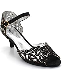 AARZ LONDON Women Ladies Opentoe Diamante Mid Heel Evening Wedding Party  Sandals Shoes Size bc1008878