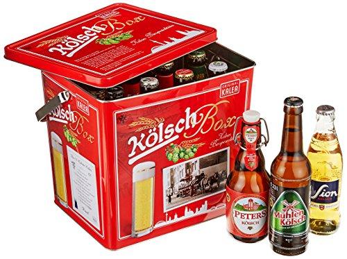 Kalea Kölsch Box, 11 ausgewählte Kölsch-Biere und 1 Kölsch Stange, verpackt in einer hochwertigen Metallbox, (11 x 0,33 l und 1 x Glas) -