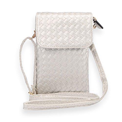Universal Mini épaule en cuir Sac PU téléphone mobile porte-monnaie avec zip bandoulière poche pour iPhone 7/6/6S,7 Plus/6S Plus et d'autres téléphones 5.5 pouces ci-dessous (motif d'armure) Argent