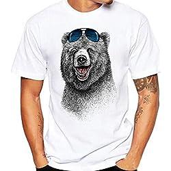 Camisetas Blancas Con Estampado De Oso Hombre LHWY, Remera Abanderado Talla Grande Camisetas Suelto Cuello Redondo Manga Corto Verano (M)