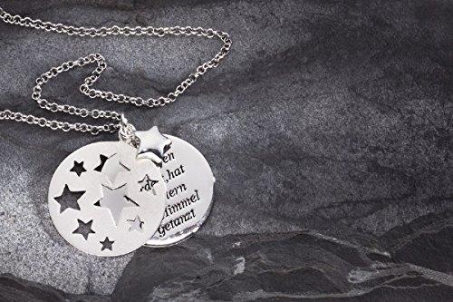 Taufschmuck aus 925er Sterling Silber, 3-teiliger Anhänger mit ausgestanzten Sternchen und Spruch-Platte