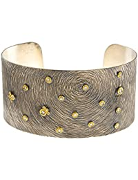 Sterling Silver With Y 32.00mm Cuff 32mm Two-tone Bangle Bracelet Solid .26 Dwt Diamond