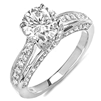Dazzlingrock Collection 0.65 Carat (ctw) 14k Round Diamond Ladies Solitaire with Accents Bridal Engagement Ring (No Center Stone), White Gold, Size 7