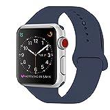 ZRO Cinturino for Apple Watch, Morbido Silicone Braccialetto Sportiva di Ricambio per 42mm iWatch Serie 3/ Serie 2/ Serie 1, Taglia M/L, Blu Notte