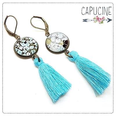 Boucles d'oreilles pendantes avec cabochon fleurs - Boucles d'oreilles pompons - Boucles d'oreilles dormeuses bronze - Esprit Japon