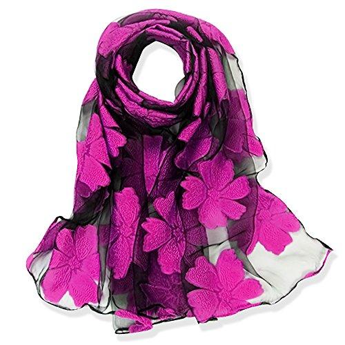 Yfzyt donna moda organza morbida sciarpa scialle collo avvolto foulard rubato, anti-uv modello di ricamo fiore chiffon sciarpa di seta scialle - fiore rosa rossa