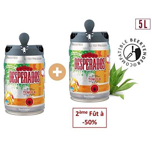 DESPERADOS Lot de 2 Fûts de biere Blonde Téquila - Compatible Beertender - 5 L