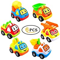 Pull Back Vehicles, 6 Pack Assorted Construction Cartoon Toy Cars, Cute Smile Construction Truck Set For 2+ Ages Preschool Learning Baby Children Toddlers Kids Gift