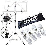 KEEPDRUM MUS3 WH Notenständer Weiss + Tasche + 4 Stück Clip Notenklammer