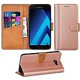 Adicase Galaxy A5 2017 Hülle Leder Wallet Tasche Flip Case Handyhülle Schutzhülle für Samsung Galaxy A5 2017 (Rose Gold)