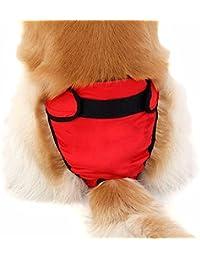 iEFiEL Pañal Reutilizable Lavable para Mascota Perro Braguita Grande de Algodón Ajustable Permeable al Aire