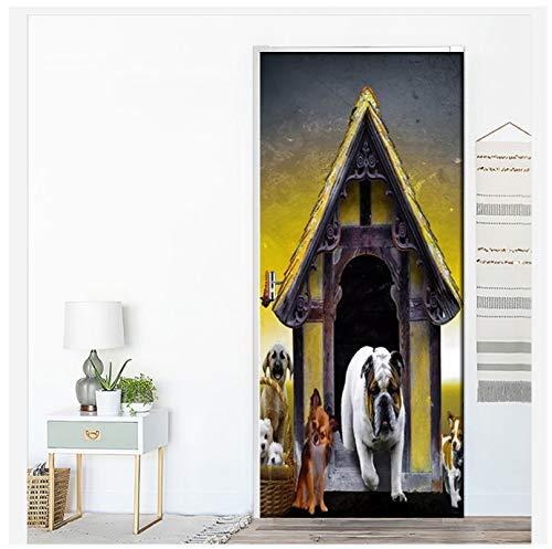WHKJ Europäische Hundehütte Niedlichen Hund PVC Selbstklebende 3D Tür Aufkleber Wandbild Tapete Für Kinderzimmer Dekor Hause Tür 3D Decals Poster 77 * 200 cm -