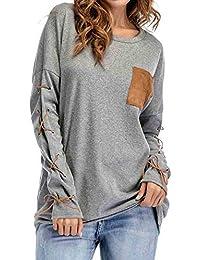 Sweatshirts Hoodies Damen Oberteil Hemd Pullover Locker T-Shirt Sport Freizeit Stickerei Kleidung mit O-Ausschnitt Langarmshirt Bluse mit Taschen Frauen Langer Pulli Tops