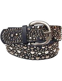 styleBREAKER Nietengürtel im Vintage Style, breiter Damen Gürtel mit Nieten und Strass, kürzbar 03010020
