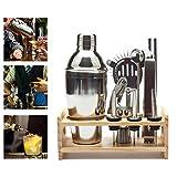 Pawaca Barkeeper Kit, 14piece Bar Set Edelstahl Bartending Werkzeug mit Sockel aus Holz Küche Zubehör Cocktail Bar Set, Home und Reisen, Professional Premium Werkzeug Set und Cocktail Shaker.