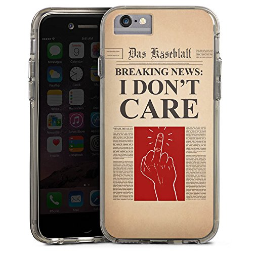 Apple iPhone 6s Plus Bumper Hülle Bumper Case Glitzer Hülle News Saying Phrase Bumper Case transparent grau
