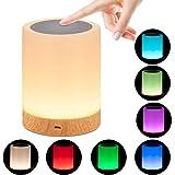 omitium Veilleuse LED, Lampe de Chevet avec Contrôle Tactile et USB Rechargeable et Changement de 16 Couleurs RGB avec Dimmab