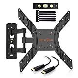 Perlegear TV Wall Bracket Tilts Swivels Rotates - TV Bracket Fits 23-55 Inch LED, LCD, OLED, Flat Screen TVs - Strong and Sturdy TV Mount Includes 1.8m HDMI Cable, Bubble Level, Cable Ties