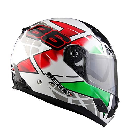 Goolife DOT Certificato FRP Moto Crash Modulare Casco Alta Sicurezza-NENKI Full Face Racing Casco Moto per Adulti Uomini Donne,L