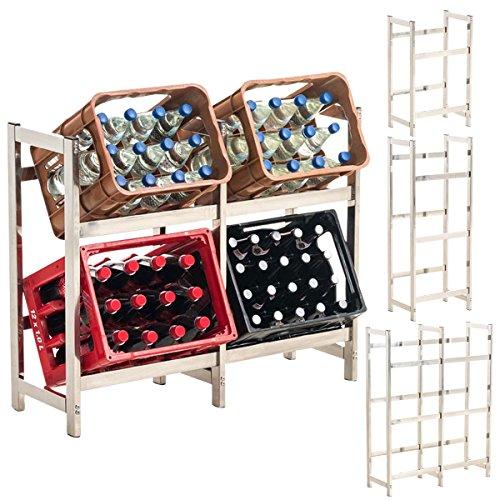 CLP Edelstahl-Getränkekistenständer Stack I Platzsparendes Robustes Kistenregal für Getränkekisten I in Verschiedenen Größen erhältlich 75 x 91 x 31 cm