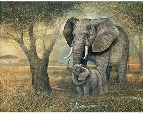 WACYDSD Puzzle 1000 Piezas Elefantes DIY Arte De La Pared Moderna Decoración...