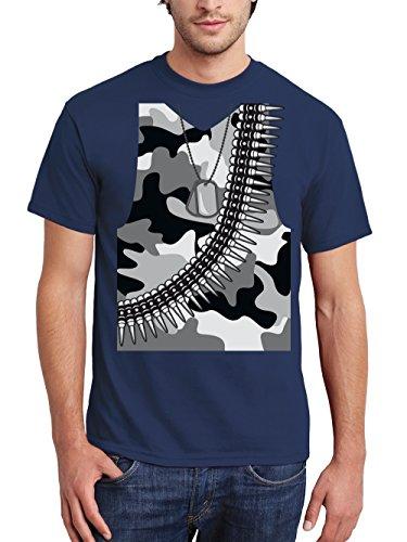 Soldaten Kostüm Lustige - clothinx Herren T-Shirt Karneval 2019 Soldaten-Kostüm Navy Größe S