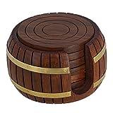 Coasters bois de thé ronds Ensemble de 6 inspiré Antique Titulaire Barrel